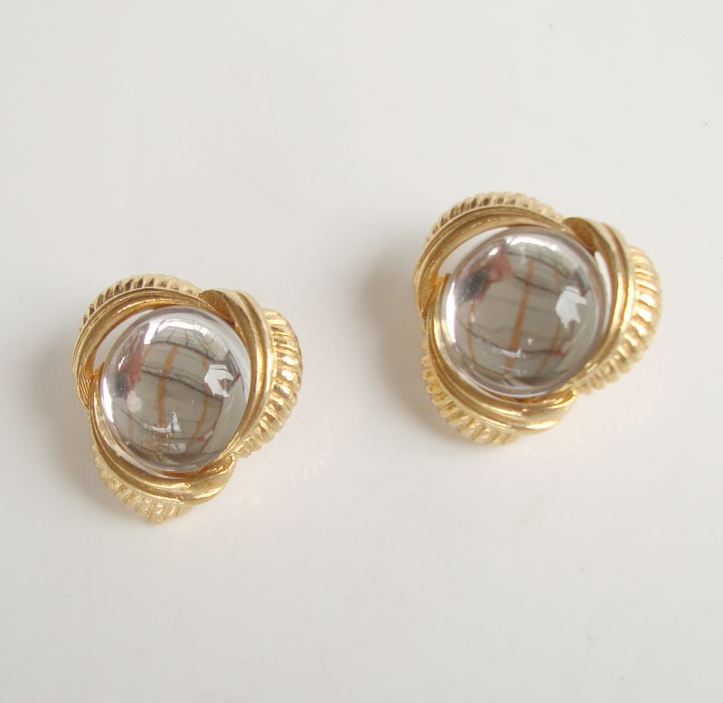 Sarah Coventry Unnamed Faux Moonstone Button Clip On Earrings Vintage Jewelry