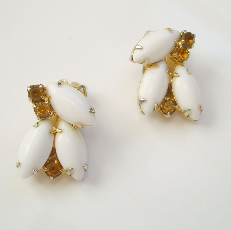 White Glass Navette Topaz Rhinestone Clip Earrings Vintage Jewelry