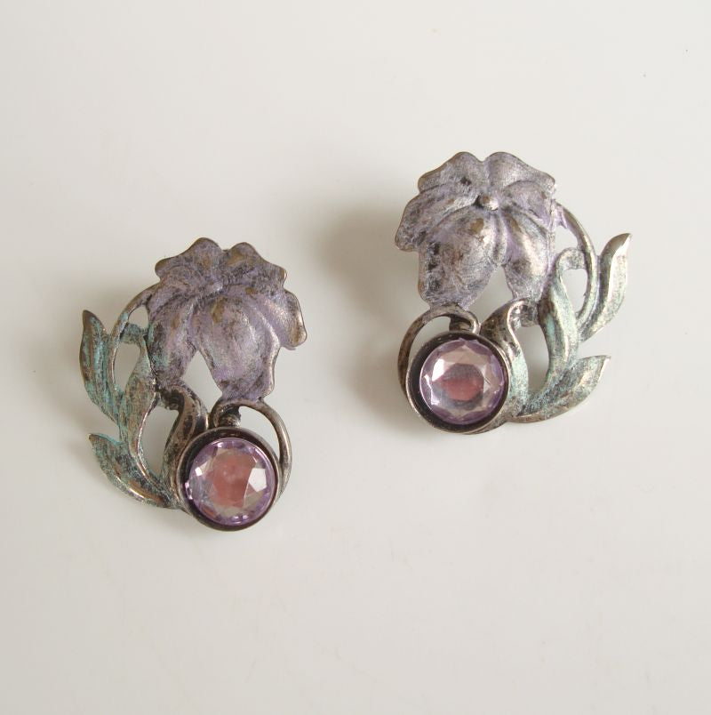Palm Tree Earrings Light Purple Rhinestones Vintage Floral Jewelry