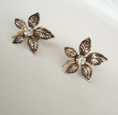 Niello Leaf Rhinestone Screw Earrings Vintage Floral Jewelry