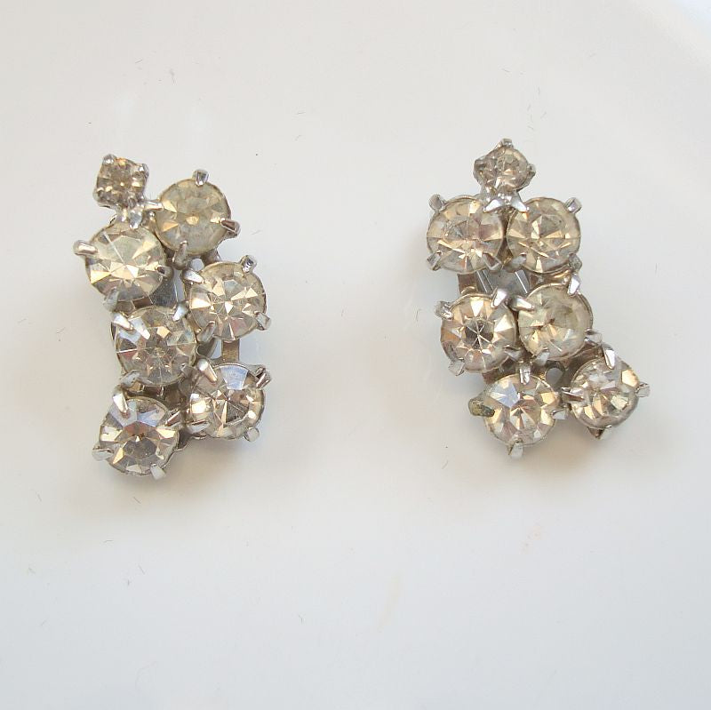 Sparkling Rhinestone Clip On Earrings Vintage Jewelry