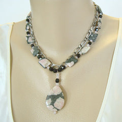 Rain Forest Jasper Pendant Necklace 2 Strands Gemstone Jewelry