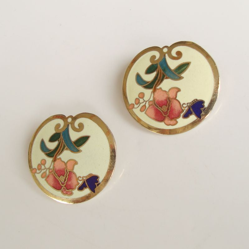 Cloisonné Enamel Clip On Earrings Pink Flower Butterfly Leaves Floral Jewelry