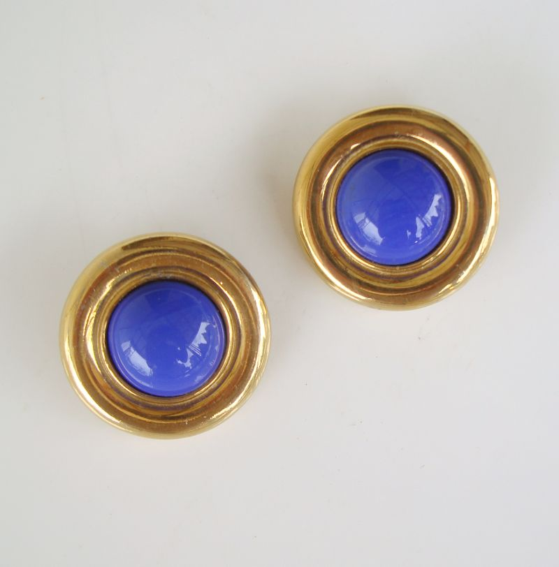Ben Amun Blue Button Style Clip On Earrings Vintage Jewelry