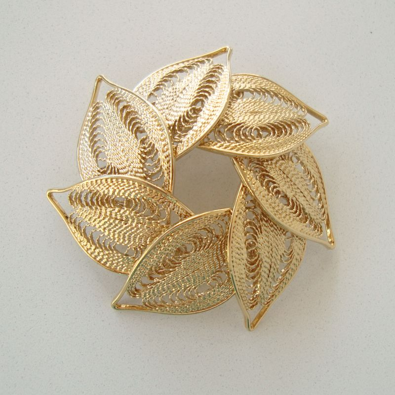 Filigree Leaf Circle Wreath Brooch Pin Exquisite Jewelry