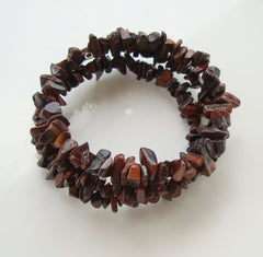 Tiger Iron Double Wrap Expansion Coil Bracelet Gemstone Jewelry