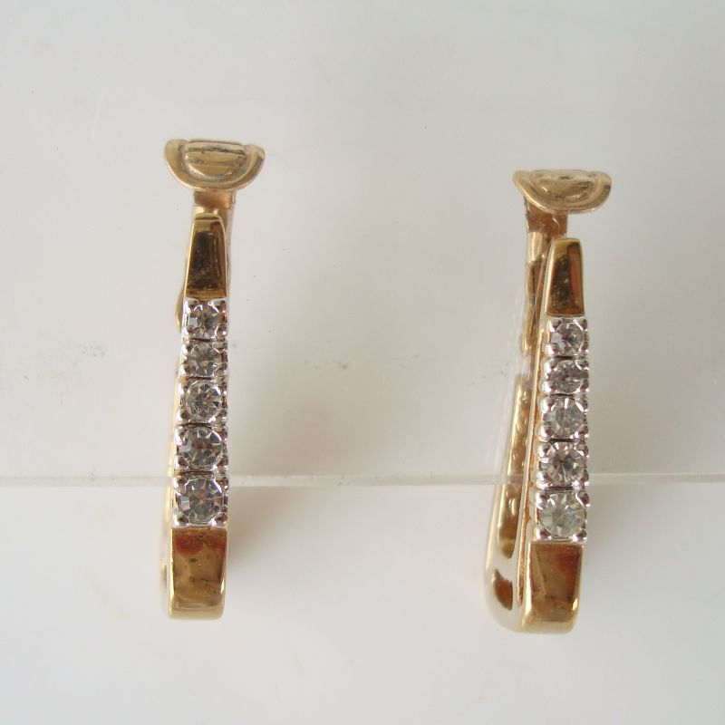 Panetta Triangular Hoop Clip Earrings  Rhinestones Vintage Designer Jewelry