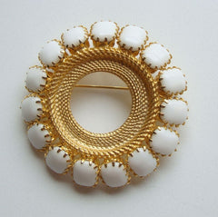 Large Circle Pin Cushion Cut White Glass Stones Vintage Jewelry