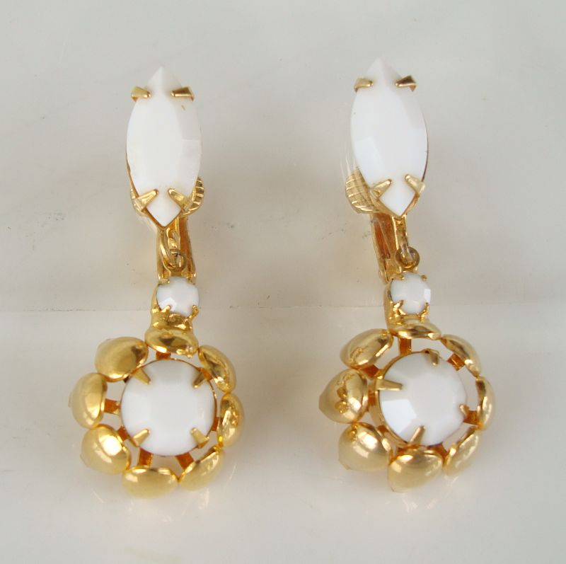 White Glass Navette Dangle Clip On Earrings Classy Goldtone Jewelry