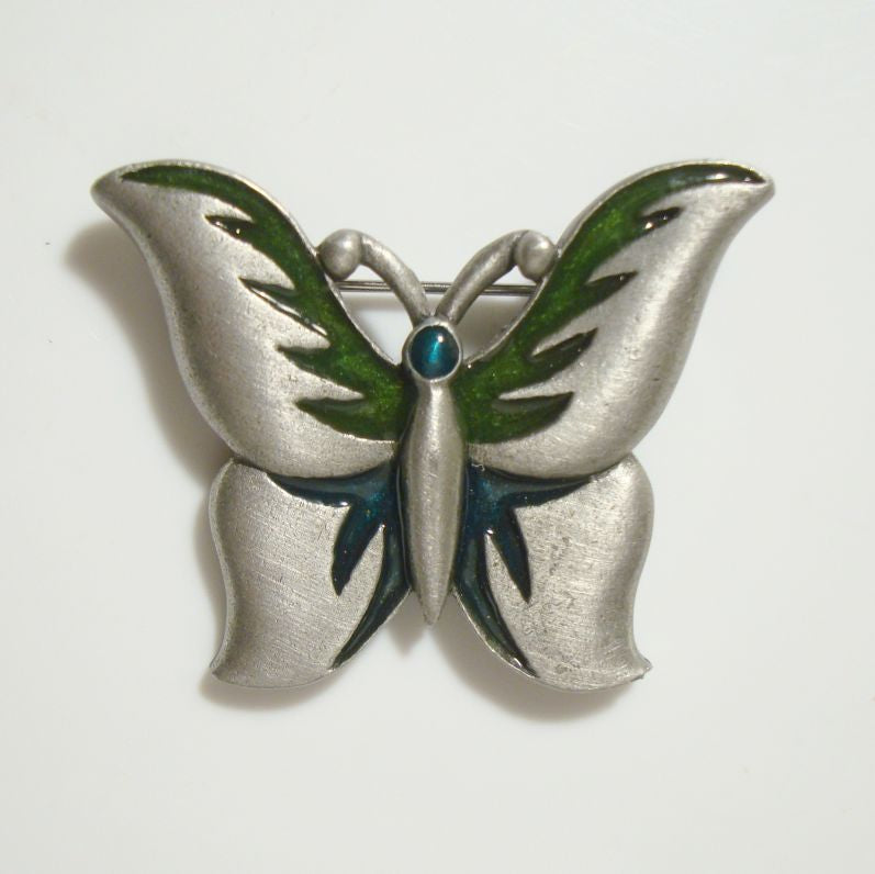 Razza Butterfly Pin Pewter Black Enamel Green Head Signed Vintage Jewelry