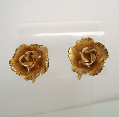 Giovanni Goldtone Rose Clip On Earrings Floral Jewelry
