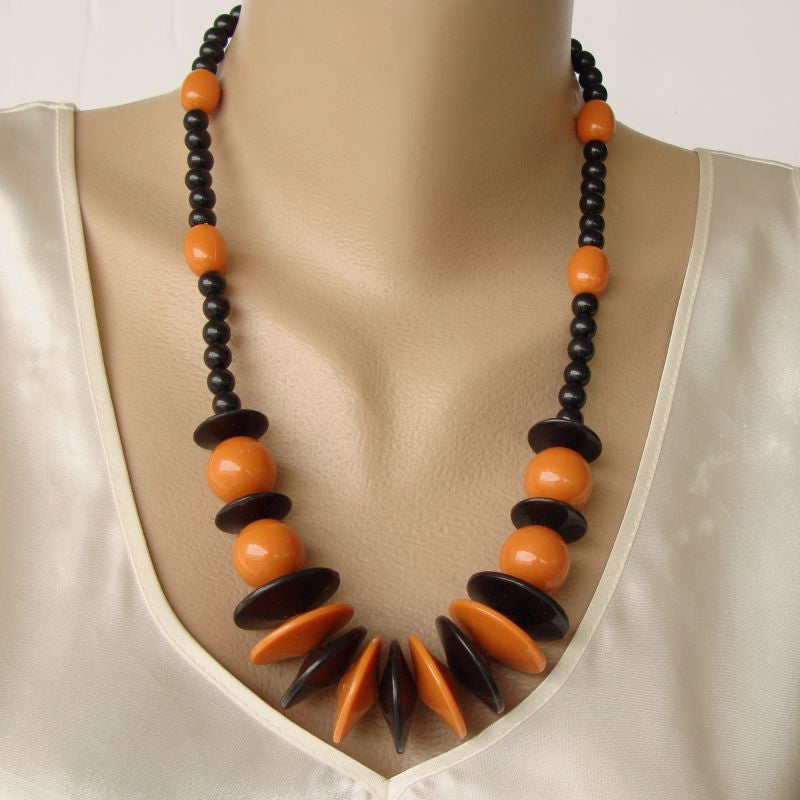Retro Art Deco Style Butterscotch Black Bead Necklace Vintage Jewelry