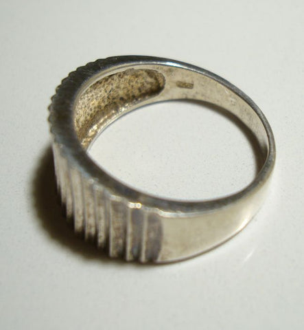 NV Signed Sterling Silver Ring Size 10 Ridged Pleats Jewelry