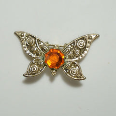 Butterfly Pin Orange-Red Glass Crystal Rosette Patterned Wings Figural Jewelry