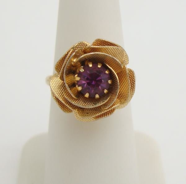 Textured Rose Amethyst Rhinestone Adjustable Ring Vintage Jewelry