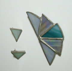 Teal Blue Gray Iridescent Stained Glass Brooch Earring Set Vintage Jewelry