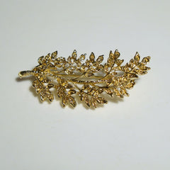 Intricate Branch Leaves Brooch Pin Goldtone Vintage Floral Jewelry