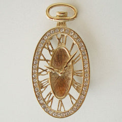 Pocket Watch Fob Shaped Brooch Pin Rhinestones Time 9:08 Jewelry