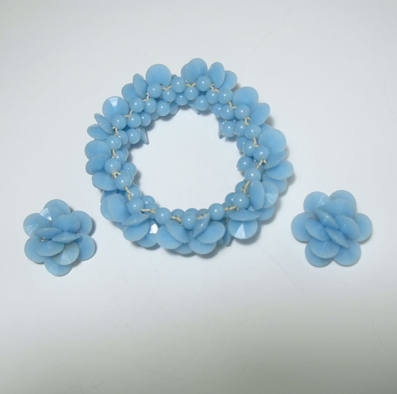 Baby Blue Faceted Lucite Bracelet Clip Earrings Set Vintage Jewelry
