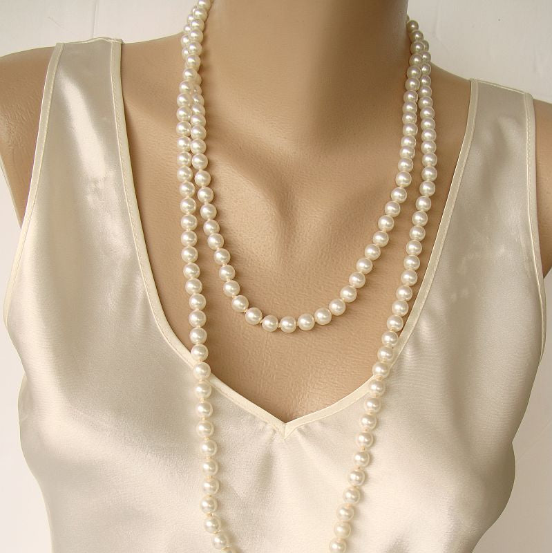 Long 53-inch Faux Pearl Necklace Sterling Clasp Vintage Jewelry