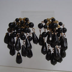 Black Multi-Strand Faceted Bead Clip On Dangle Earrings Vintage Jewelry