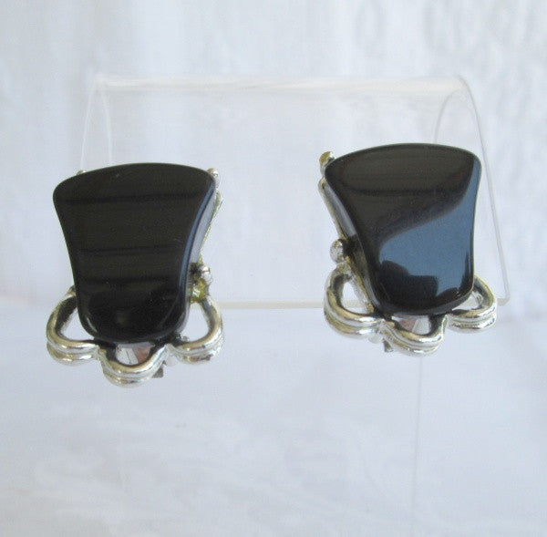 Elders Vintage Black Thermoset Clip On Earrings On Original Card