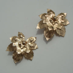 Gold Filled Leaf Clip On Earrings Layered Floral Jewelry