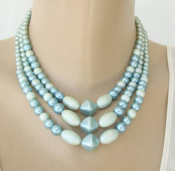 Japan Triple Strand Blue Bead Necklace Vintage Jewelry