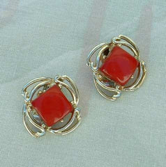 Red Moonglow Lucite Clip Earrings Openwork Frame 1950s Vintage Jewelry