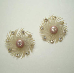 West Germany Peacock Style Clip On Earrings Rhinestones Vintage Jewelry