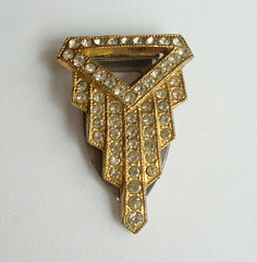 Goody Art Deco Dress Clip c1930 Rhinestones Geometric Vintage Jewelry