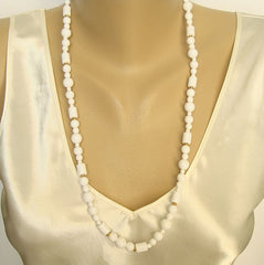 Monet Geometric White Bead Neckace Summer Spring Signed Jewelry