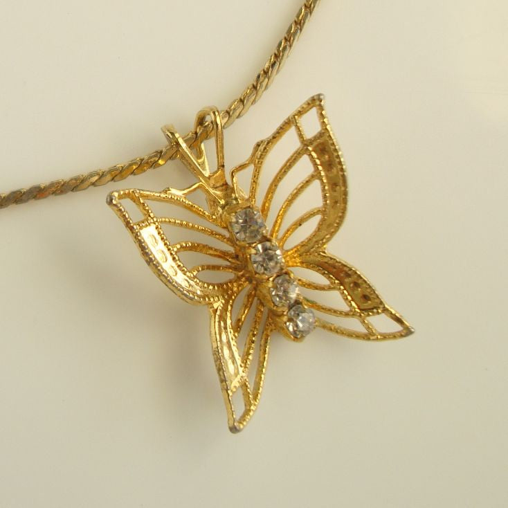 Monet Petite Openwork Butterfly Pendant Necklace Rhinestones Vintage Jewelry