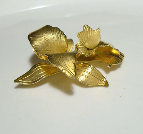 CERRITO Original 1982 Gold Gilt Orchid Pin Floral Brooch Vintage Jewelry