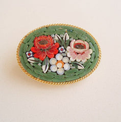 Coro Maybe Micro Mosiac Flower Pin Vintage Floral Jewelry
