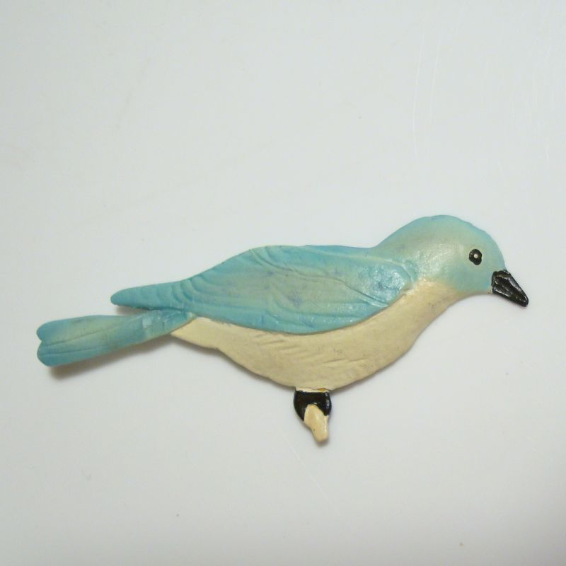 Ed Canada Signed Hand Painted Paper Mache Blue Teal Bird Pin Vintage Jewelry