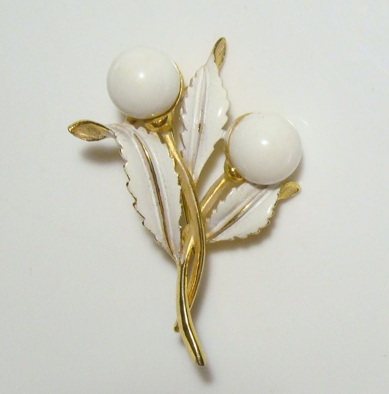 Rapallo Signed Brooch White Enamel Bead Spray Pin Designer Vintage Jewelry