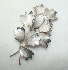 Gray Embossed Fern Brooch Vintage Floral Jewelry