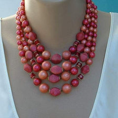 Vintage 4-Std Red Pink Bead Necklace Germany or Japan Jewelry