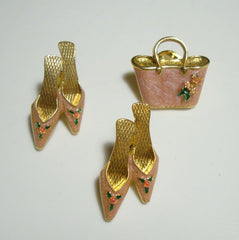 AVON 3 Pink Enameled Purse Shoes Lapel Pins Jewelry