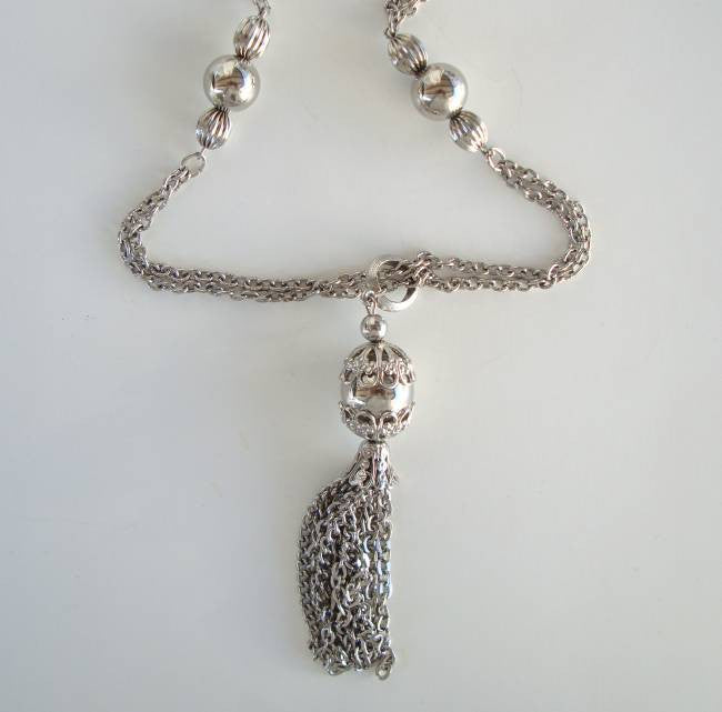 Silvertone 2-Strand Beaded Chain Necklace with Tassel Vintage Jewelry