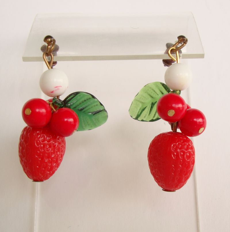Fun Copper Pierced Earrings Strawberries Leaves Vintage Jewelry