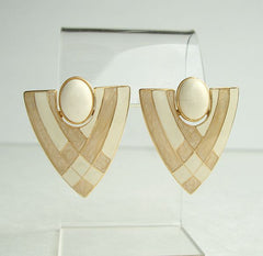 TAT signed Retro Beige Enamel Pierced Earrings Geometric Jewelry