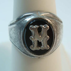 Vargas Monogrammed H or K or M Sterling Sliver Ring Size 7.5 to 8.0 Vintage Jewelry