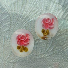 Reverse Carved Lucite Pink Roses Screw Vintage Floral Earrings