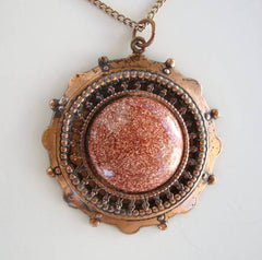 Faux Sunstone Pendant Necklace Vintage Goldstone Copper Jewelry