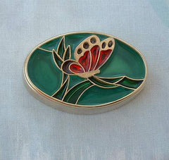 Butterfly Trinket Box Heavy Goldtone Poured Red Green Plique a Jour Style