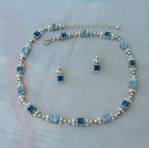 Dark Blue Sapphire Aquamarine Rhinestone Necklace Earring Set Elegant Jewelry