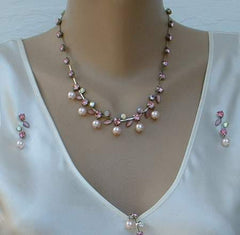 Pink Faux Pearl Cat's Eye AB Rhinestones Necklace Bracelet Earrings Set