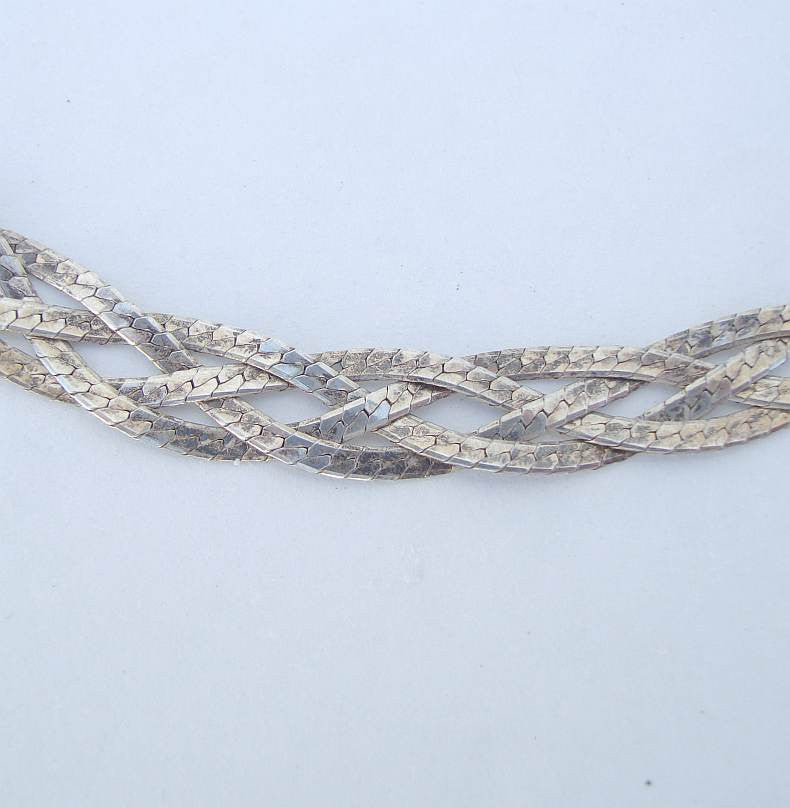 Mexican Sterling Silver Triple Strand Chain Necklace Mexico City Vintage Jewelry